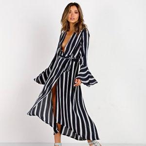 Faithfull the Brand Lulus Blue Striped Dress